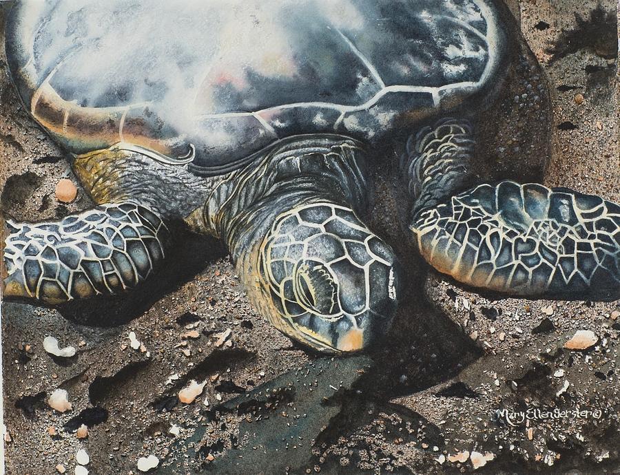 Oceans Painting - Basking in Hawaii by Mary Ellen Gerster