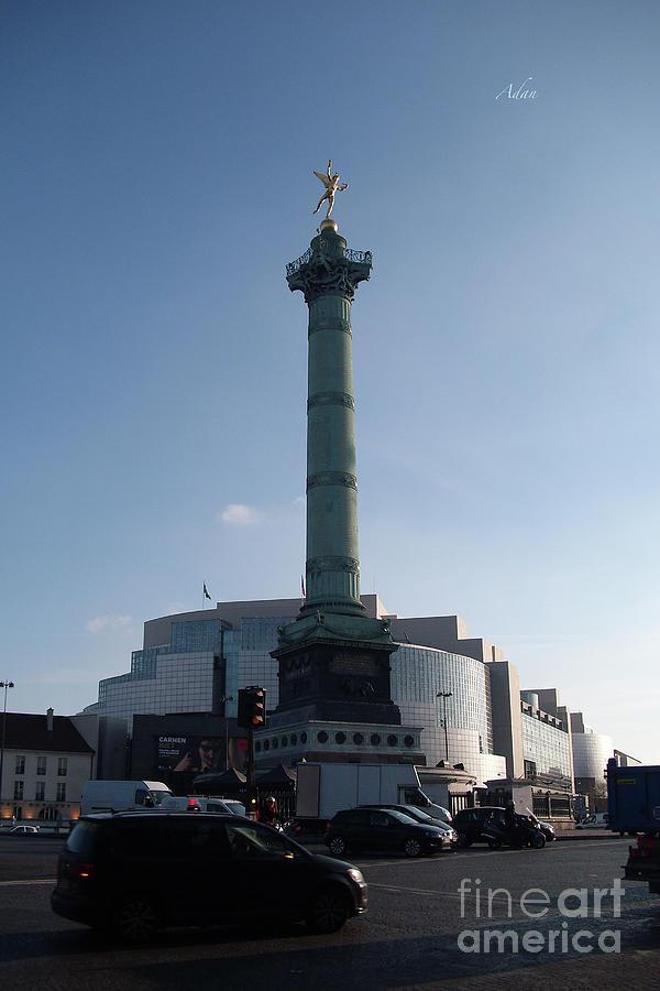 Bastille Monument And Traffic Circle Paris Photograph