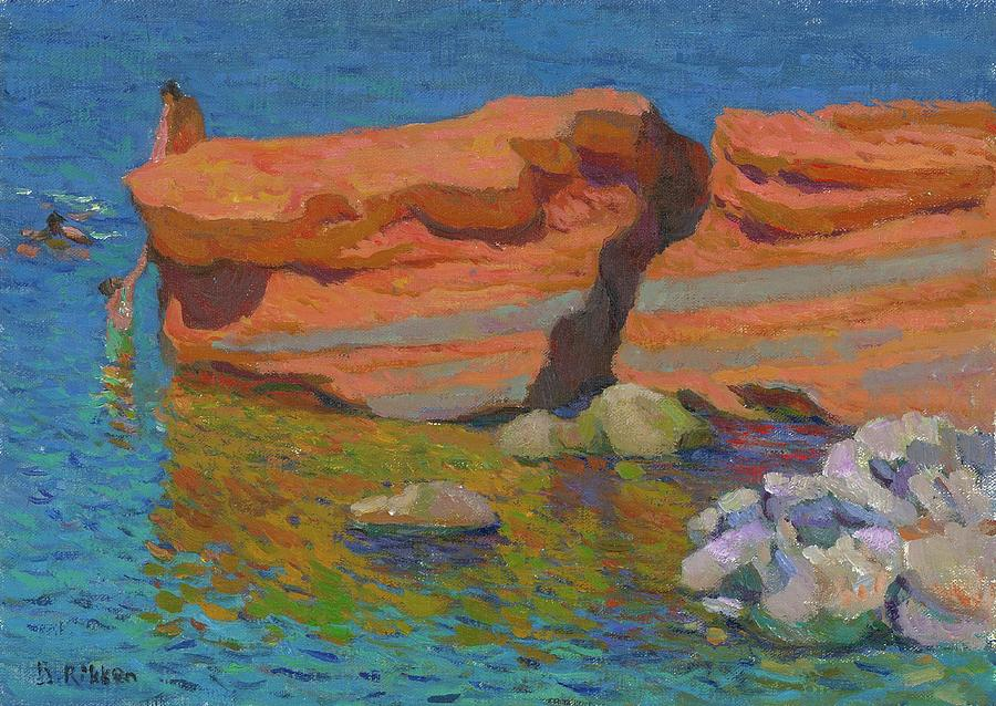 Bathing Painting - Bathing At The Red Rocks by Ben Rikken