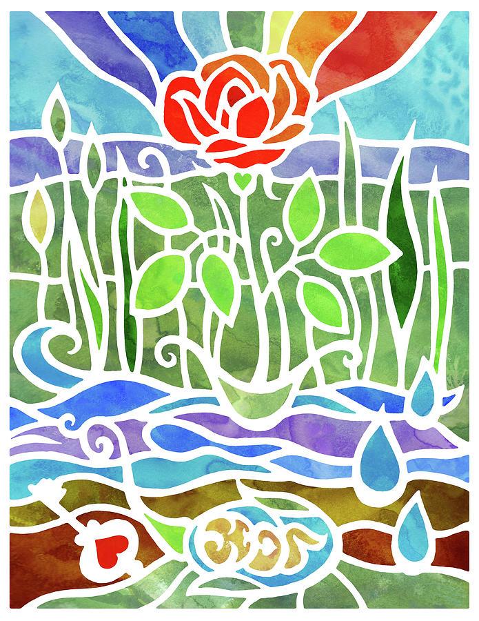 Batik Rose Garden With Hidden Hearts Watercolor Painting