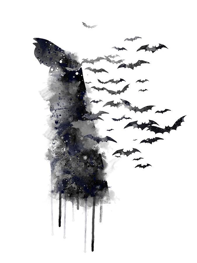 Batman Watercolor Drips Digital Art
