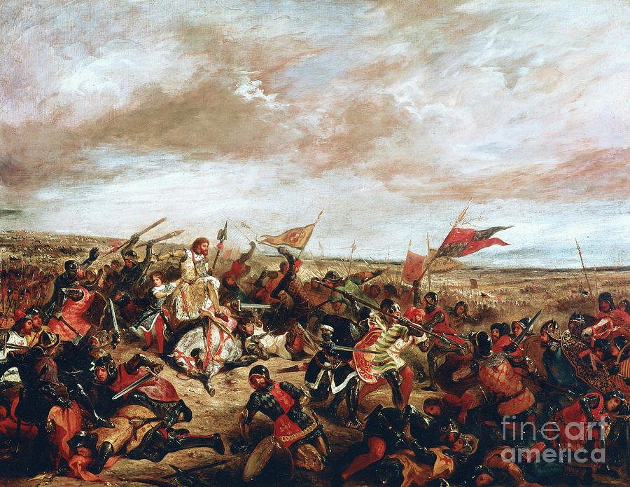 Poitiers Painting - Battle of Poitiers on September 19, 1356 by Ferdinand Victor Eugene Delacroix