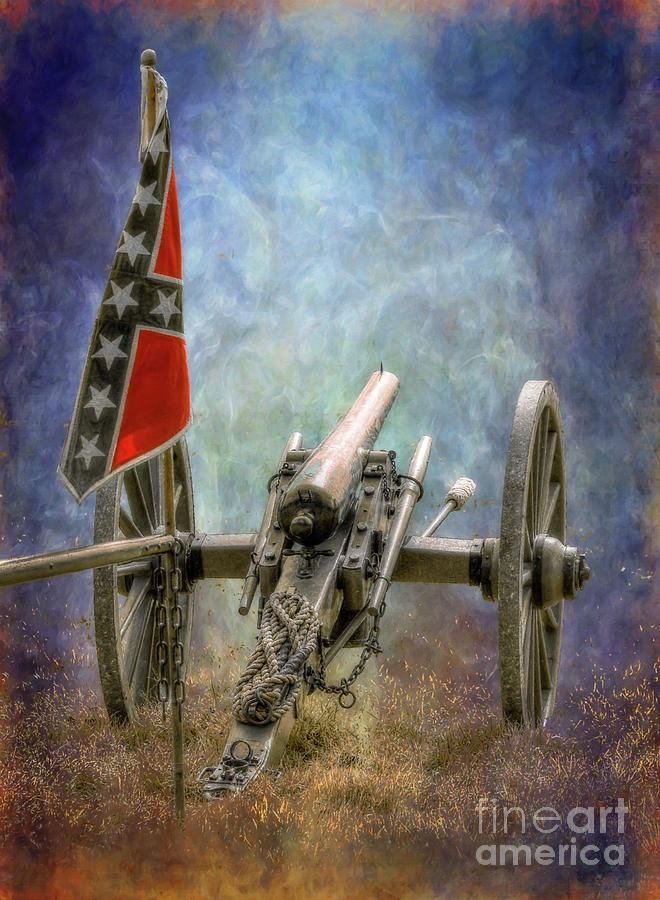 Battlefield Civil War Rebel Cannon Digital Art