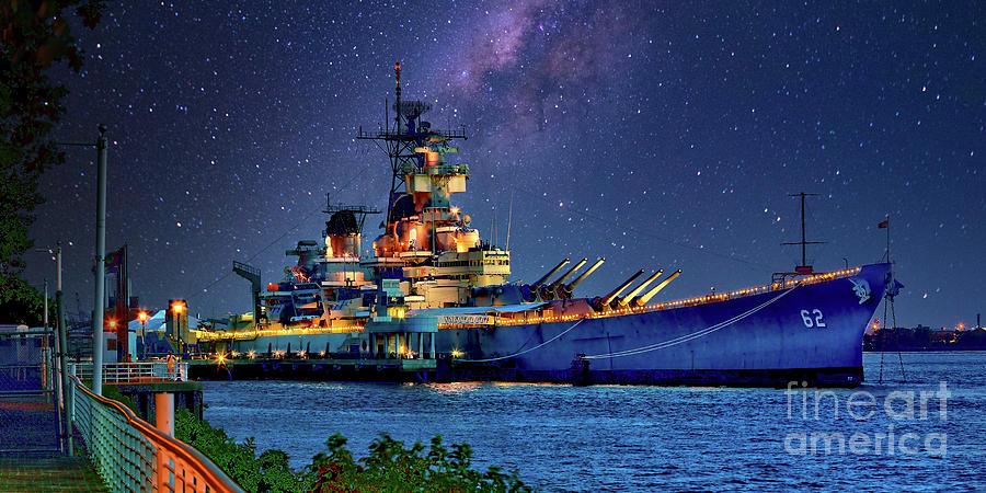 Battleship New Jersey At Night Photograph