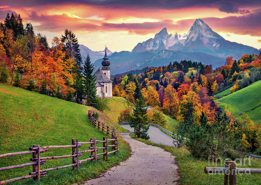 Bavaria Church And Trees At Sunset In Autumn Landscape Photography Photograph By Thomas Jones