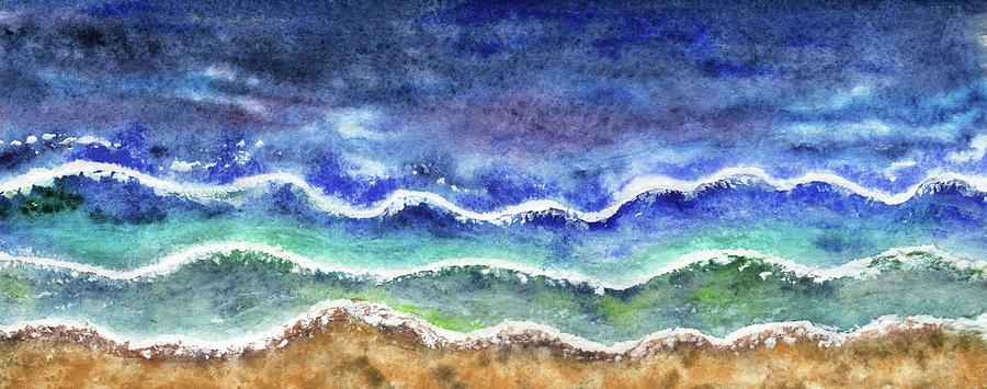 Beach Art Long Meditative Waves Watercolor Painting