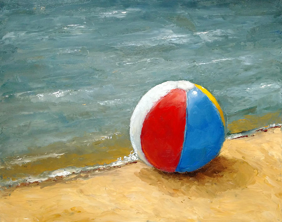 Beach Ball At Waters Edge Painting