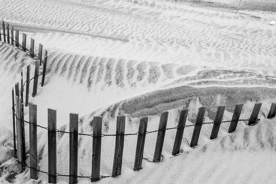 Beach Curves In Black And White Photograph