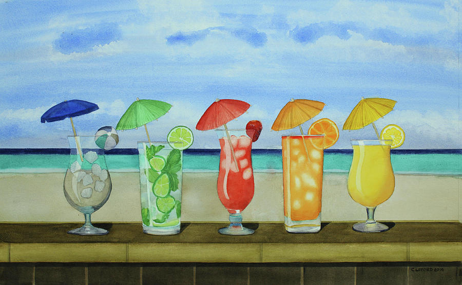 Tropical Painting - Beach Drinks by Cory Clifford