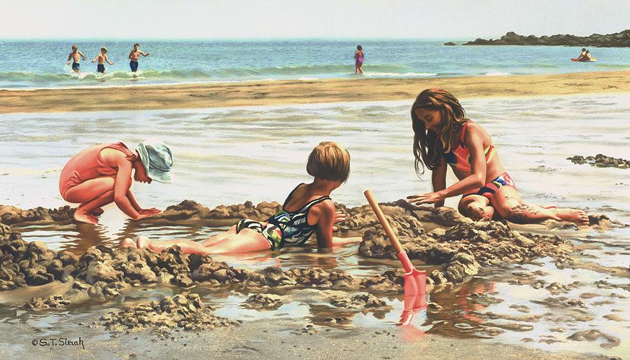 Coastal Painting - Beach Girls by Tom Sierak