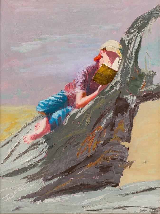Girl Painting - Beach Reader by Irena  Jablonski