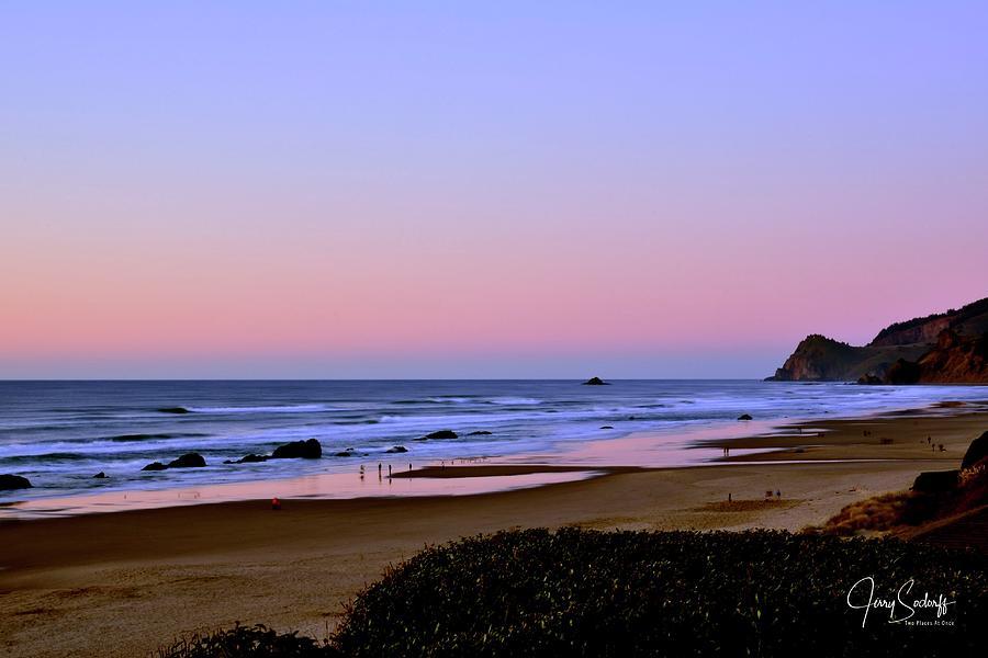 Beach Reflections Last Light Photograph