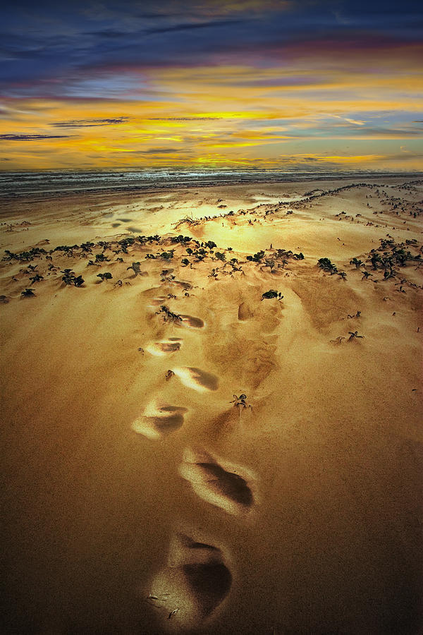 Beach Sand And Footprints At Sunset On Padre Island Photograph