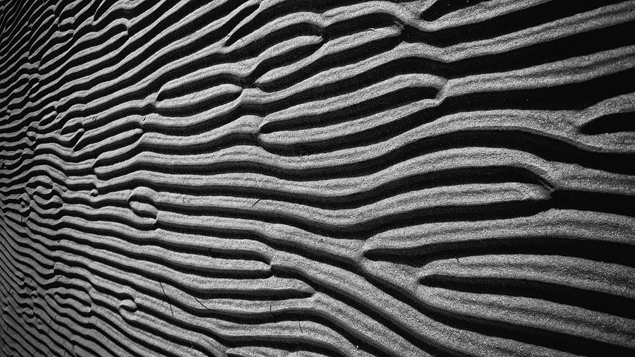 Patterns Photograph - Beach Sand Ripples Black and White Photography by Dapixara Art