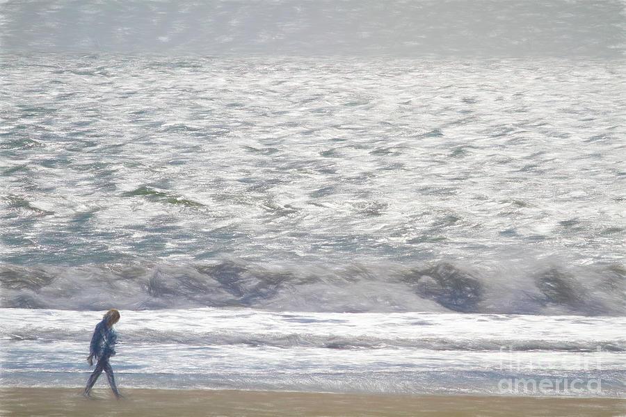Ocean Digital Art - Beach Stroll by Chris Mautz