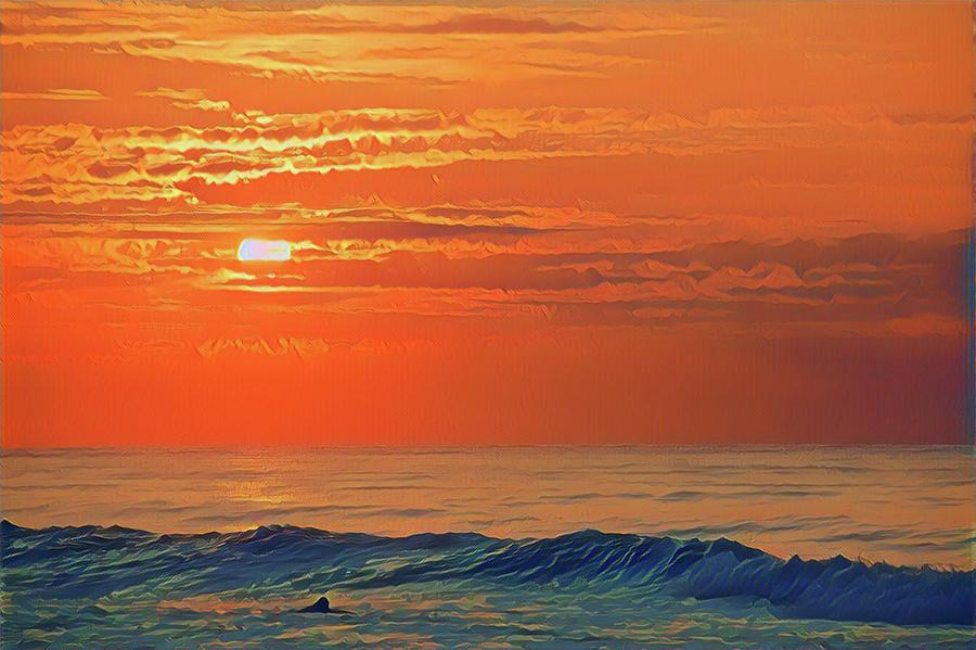 Beach Sunrise Surfer Photograph