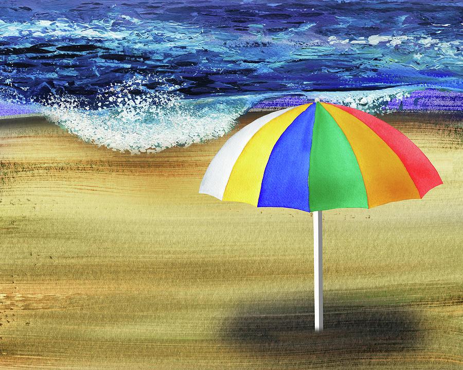 Beach Umbrella Sunny Shore Coastal Art II Painting