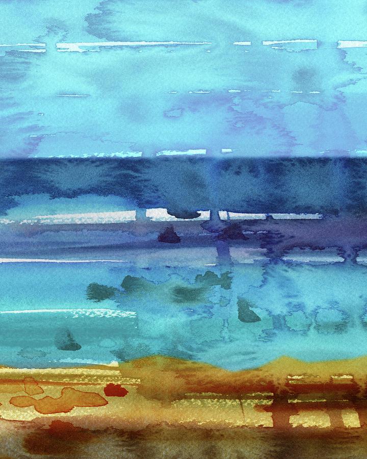 Beach Walk At The Ocean Shore Seascape Blue Landscape Decor Viii Painting