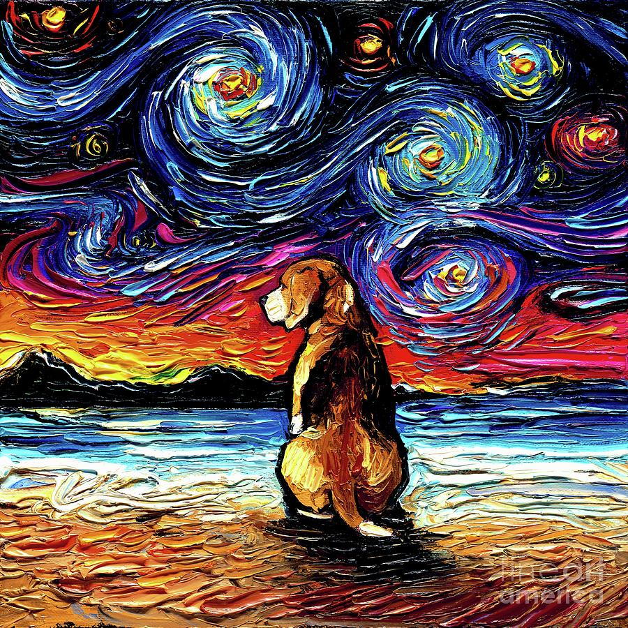 Beagle Painting - Beagle Night 2 by Aja Trier