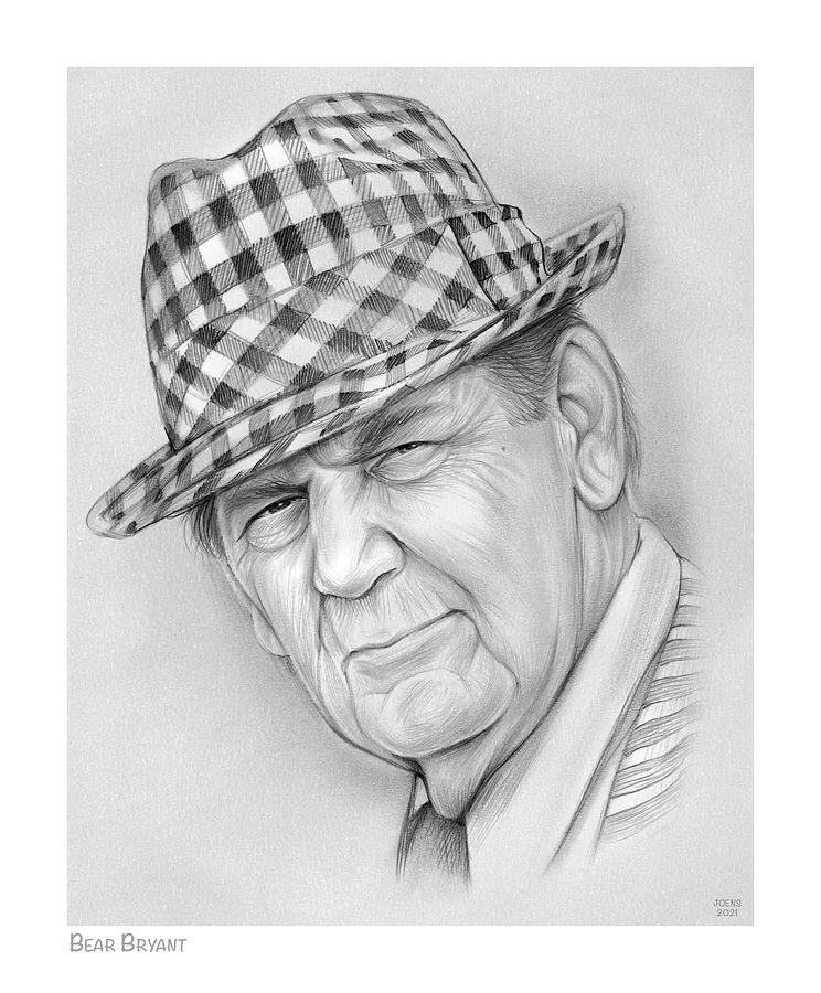 Bear Bryant Drawing - Bear Bryant - Pencil by Greg Joens