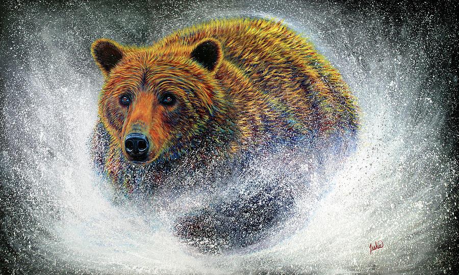 Bear Painting - BearSprint by Teshia Art