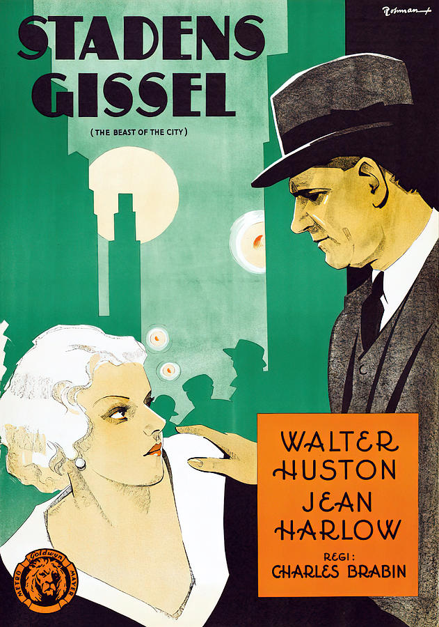 beast Of The City, With Walter Huston And Jean Harlow, 1932 Mixed Media