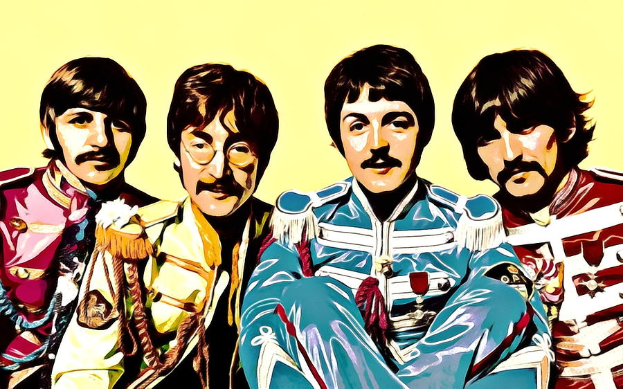 Beatles Painting - Beatles Sgt. Peppers painting Lennon, McCartney, Harrison and Starr by Artista Fratta