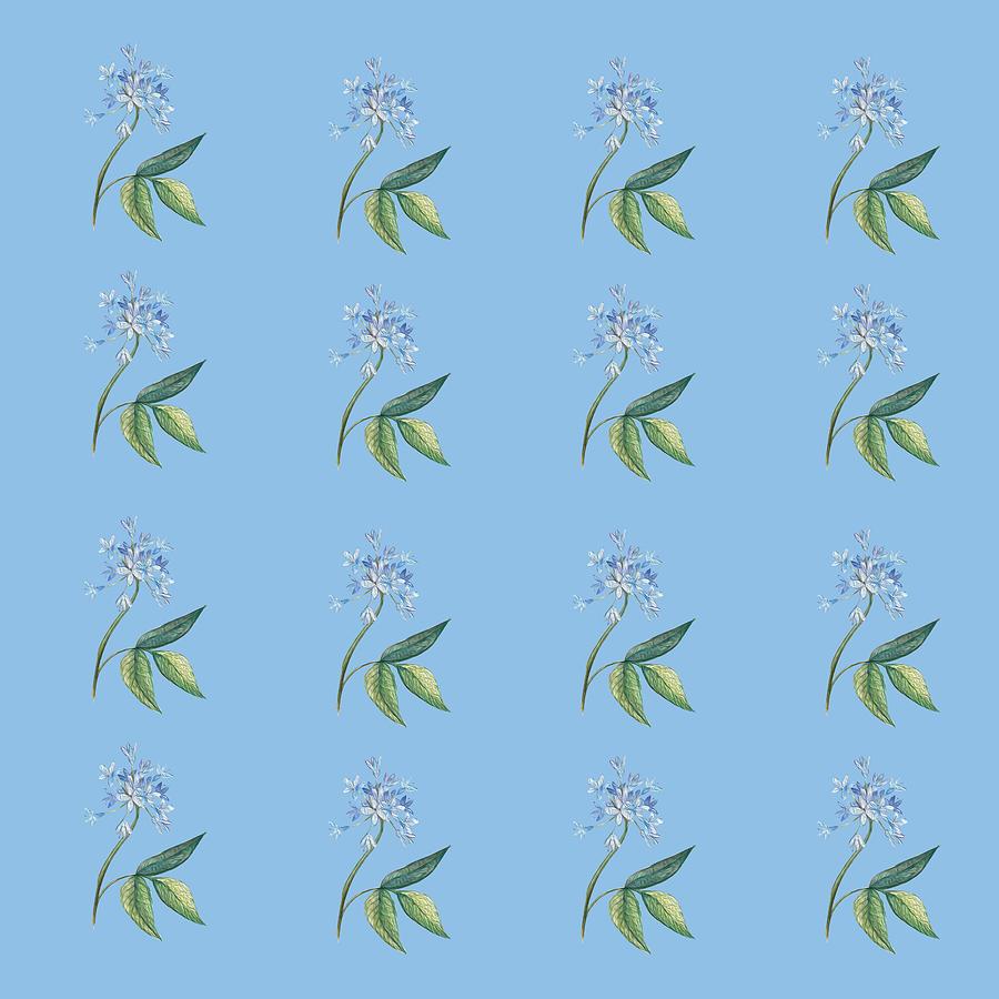 Beautiful Blue Flowers On Light Blue Digital Art