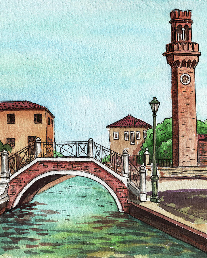 Beautiful Bridge Over Venetian Canal And The Tower Painting