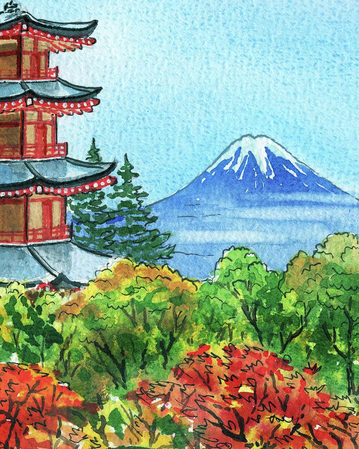 Beautiful Fall Near Mountain Fuji Japanese Pagoda Painting