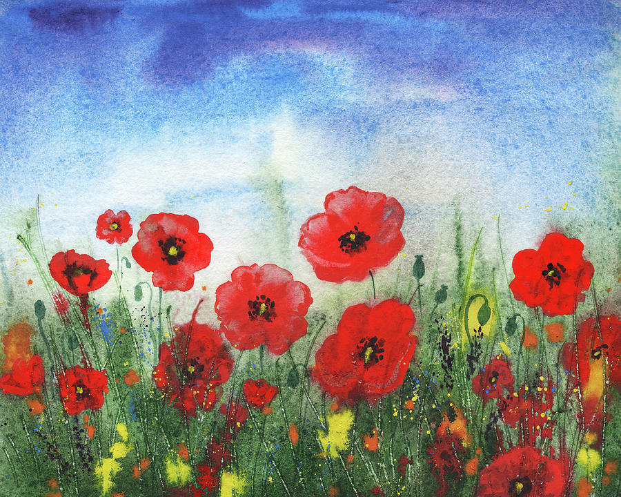 Beautiful Field Of Red Poppies Watercolor Wildflowers Field Painting