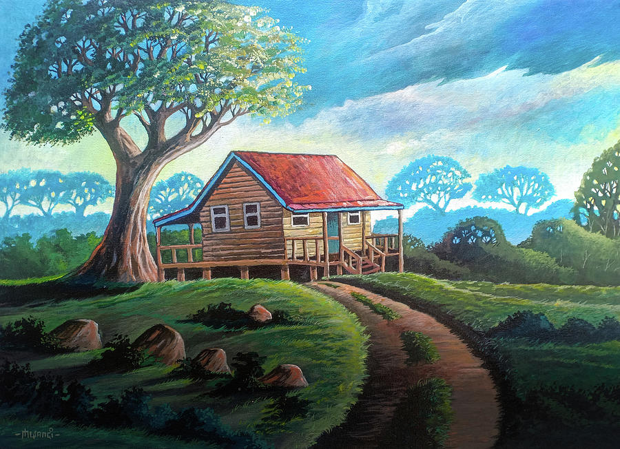 Little Cabin On A Hill Painting