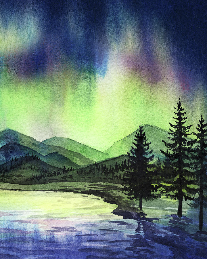 Beautiful Northern Aurora Borealis Lights With Forest Silhouette Watercolor Painting II Painting