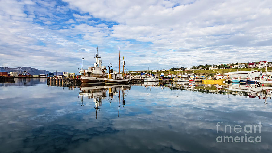 Beautiful Reflection in Husavik Harbor, Iceland 2 by Lyl Dil Creations