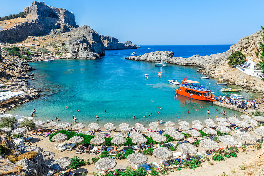 Beautiful St. Pauls Bay in Rhodes, Greece Photograph by Starcevic