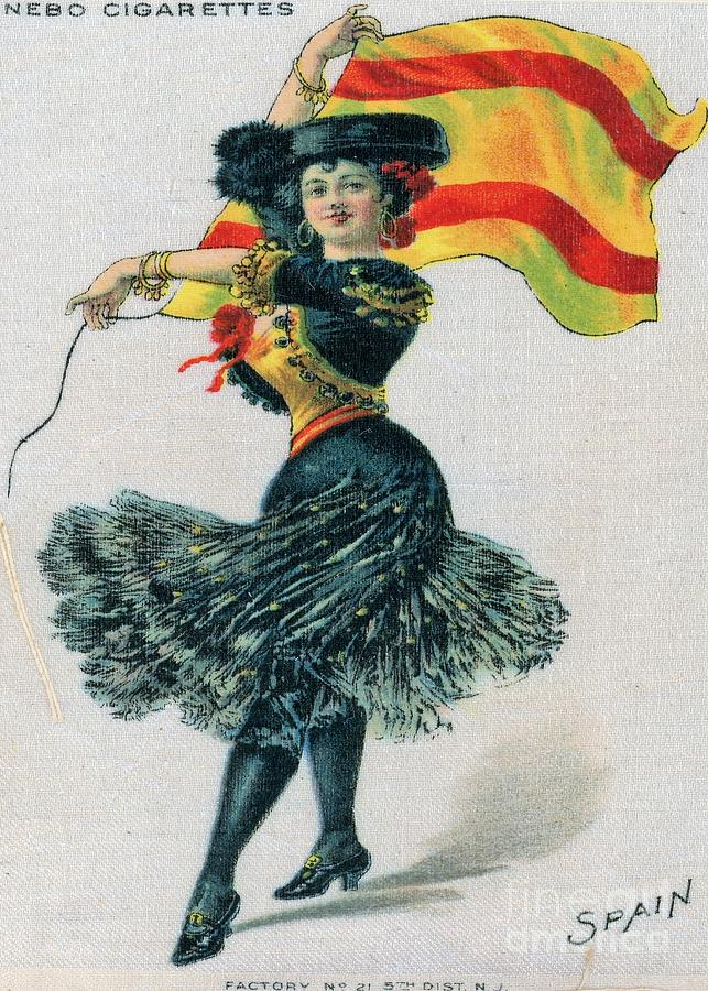 Beautiful Woman Dancing With the Flag of Spain by Philip and Robbie Bracco