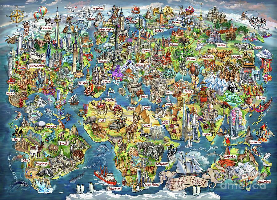 Travel Digital Art - Beautiful World - Map Illustration by Maria Rabinky
