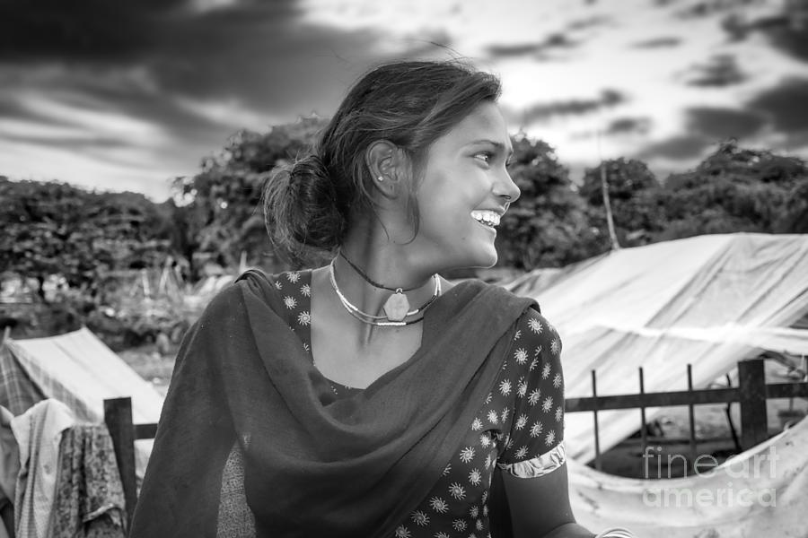 Innocence Photograph - Beautiful Young Indian Smile - street girl portrait black and white by Stefano Senise