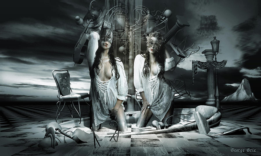 Neosurrealism Digital Art - Beauty and the beast Dissociative identity disorder by George Grie