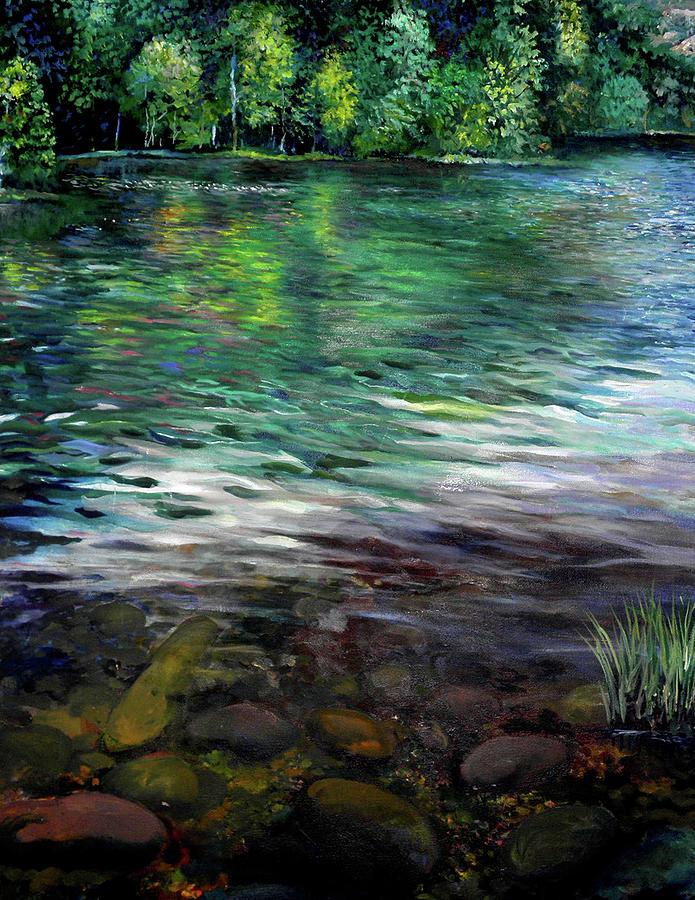 Water Painting - Beavers Bend by Steve Linebaugh