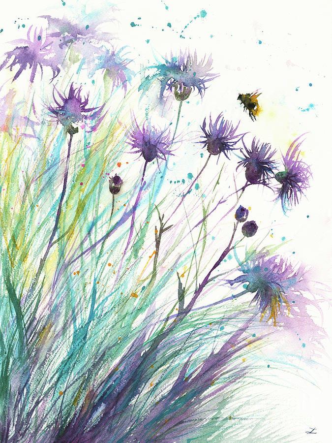 Bee And Thistle Painting