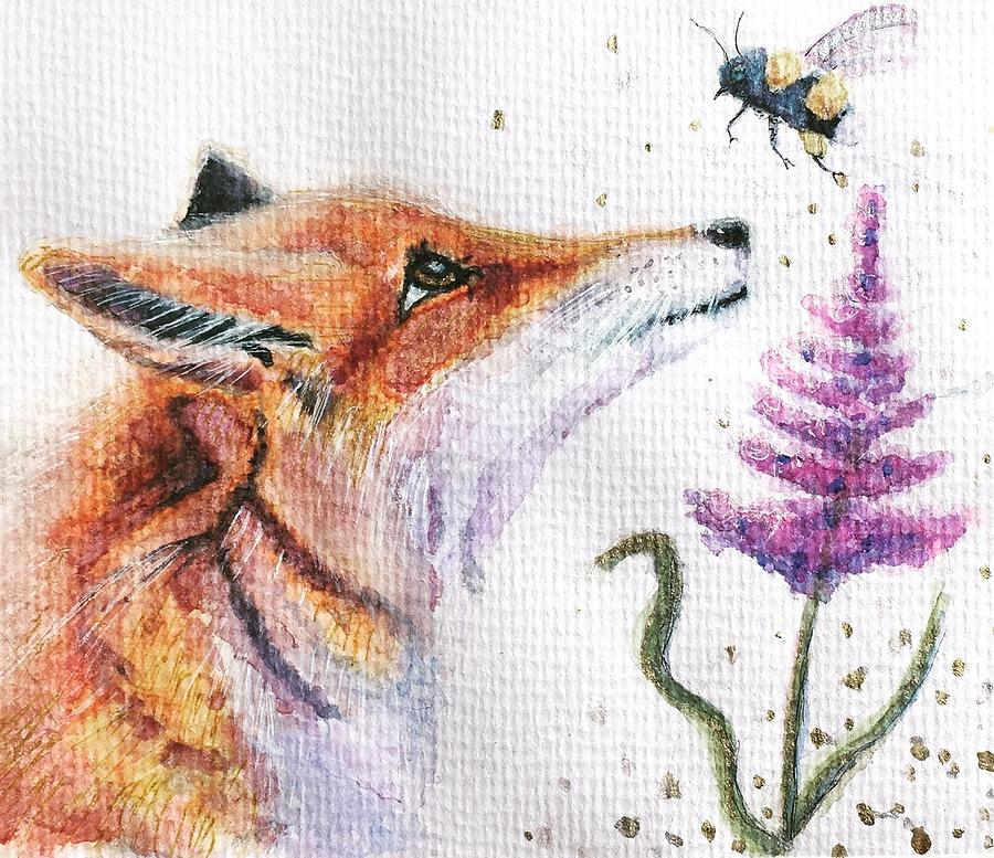 Watercolor Painting - Bee Foxy  by Sharon May Nicol