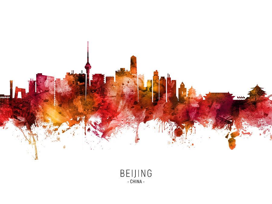 Beijing Digital Art - Beijing China Skyline #82 by Michael Tompsett