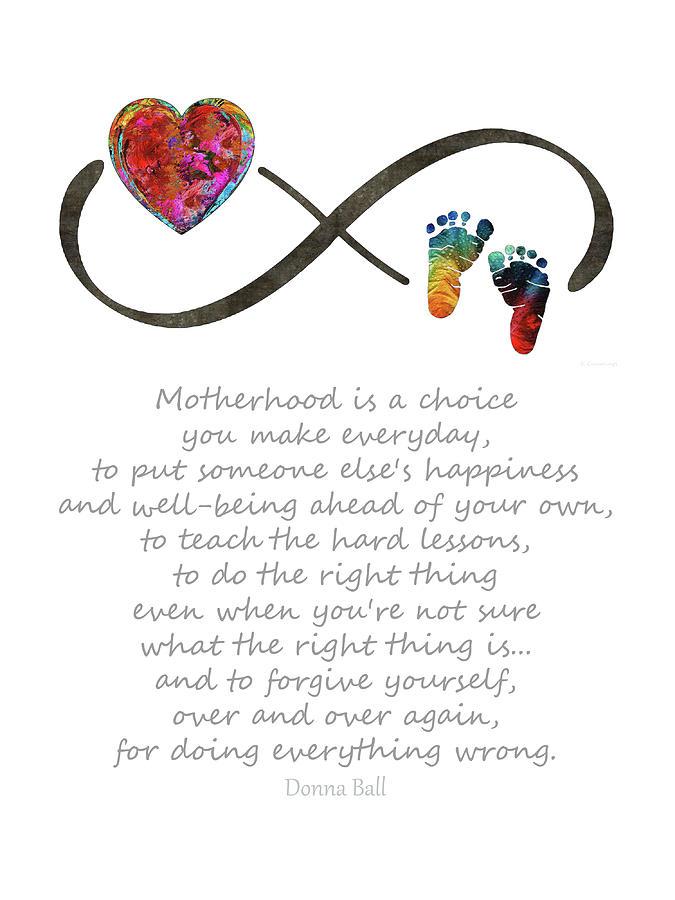 Mom Painting - Being A Mom - Motherhood Art - Sharon Cummings by Sharon Cummings