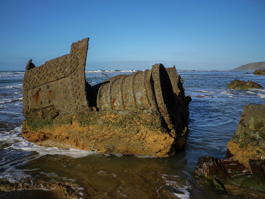 BELEM WRECK BOILER IN WATER CORNWALL by Richard Brookes