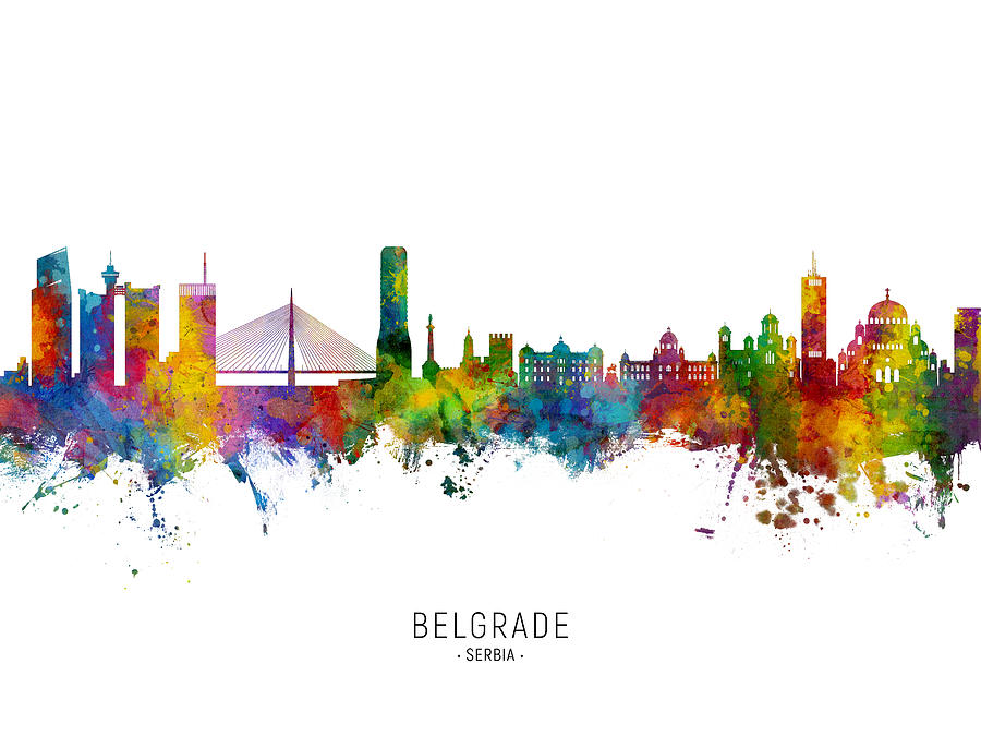 Belgrade Digital Art - Belgrade Serbia Skyline #12 by Michael Tompsett