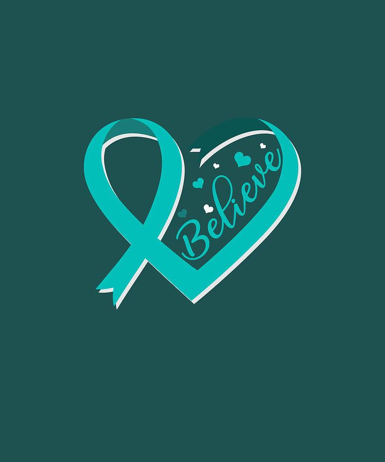 Believe Ovarian Cancer Awareness Ribbon Tshirt Gifts Digital Art By Felix
