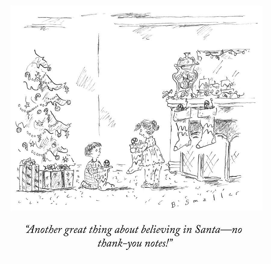 Believing In Santa Drawing by Barbara Smaller