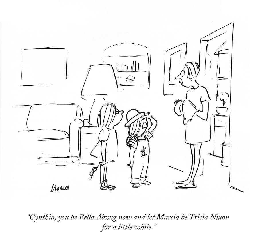 Bella Abzug and Tricia Nixon Drawing by Frank Modell