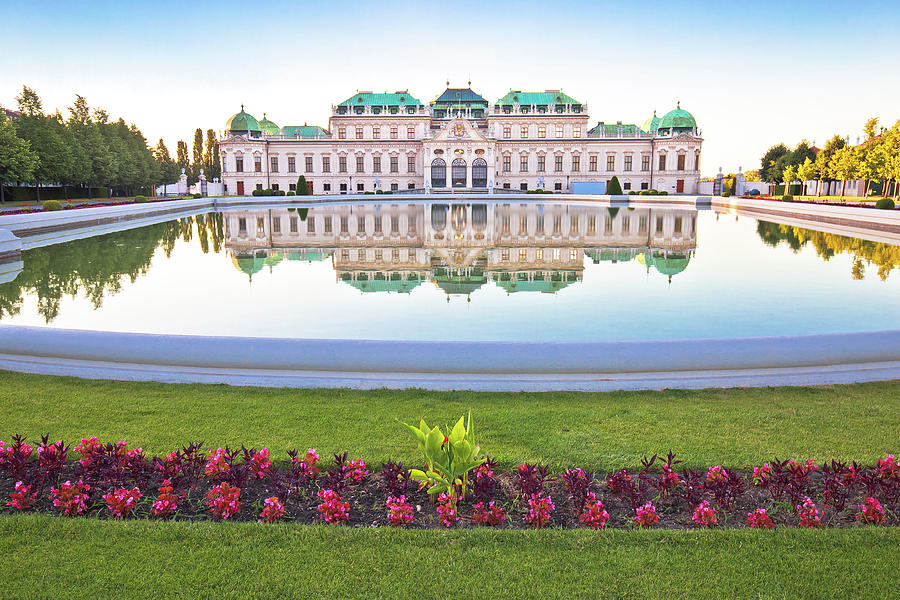 Belvedere park in Vienna water reflection view by Brch Photography